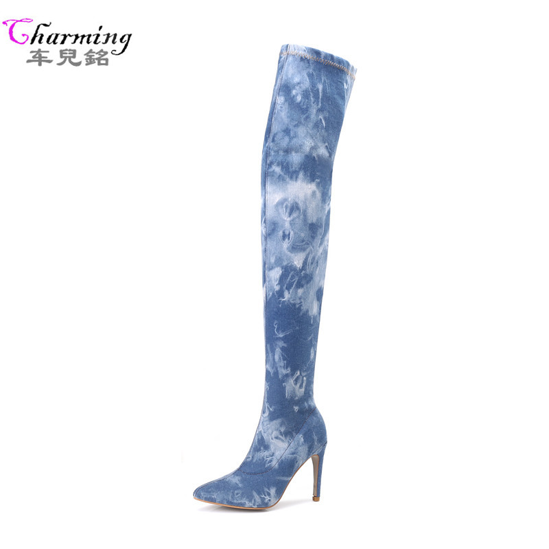 NEW Women Boots summer winter Over Knee high Boots pointed toe quality High stretch jeans fashion boots high heels 10cmplus size new 2017 spring summer women shoes pointed toe high quality brand fashion womens flats ladies plus size 41 sweet flock t179