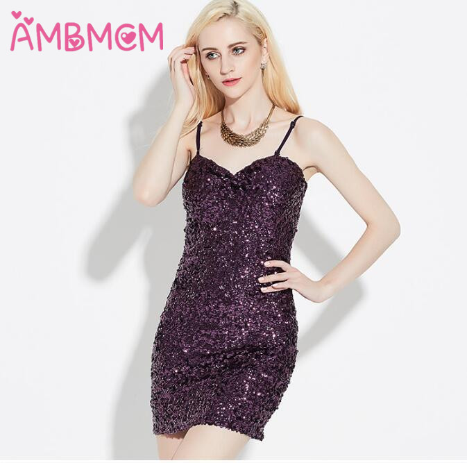 AMBMCM evening party sequin dress Women sexy vest dress short summer casual Camisole dress sequined dresses fashion Braces skir