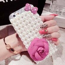 Luxe Pearl Rhinestone Diamond Crystal Glitter Bloem Bling Case Cover Voor Samsung S10 S20 S9 S8Plus Note9 8 10 (strik Parel)