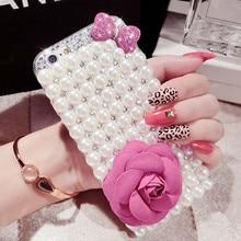 Luxe perle strass diamant cristal paillettes fleur Bling housse pour Samsung S10 S20 S9 S8Plus Note9 8 10 (perle de nœud papillon)
