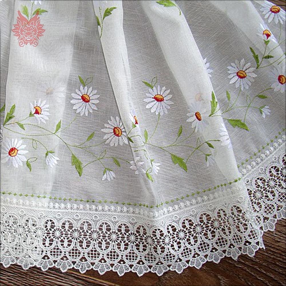 Neue mode weiß mit floral stickerei half vorhang spitze dekor erker ...