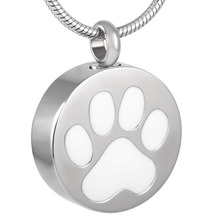 цена на IJD8088 Pet Paw Print Round Stainless Steel Cremation Memorial Necklace for Ashes Urn Keepsake Pendant Jewelry