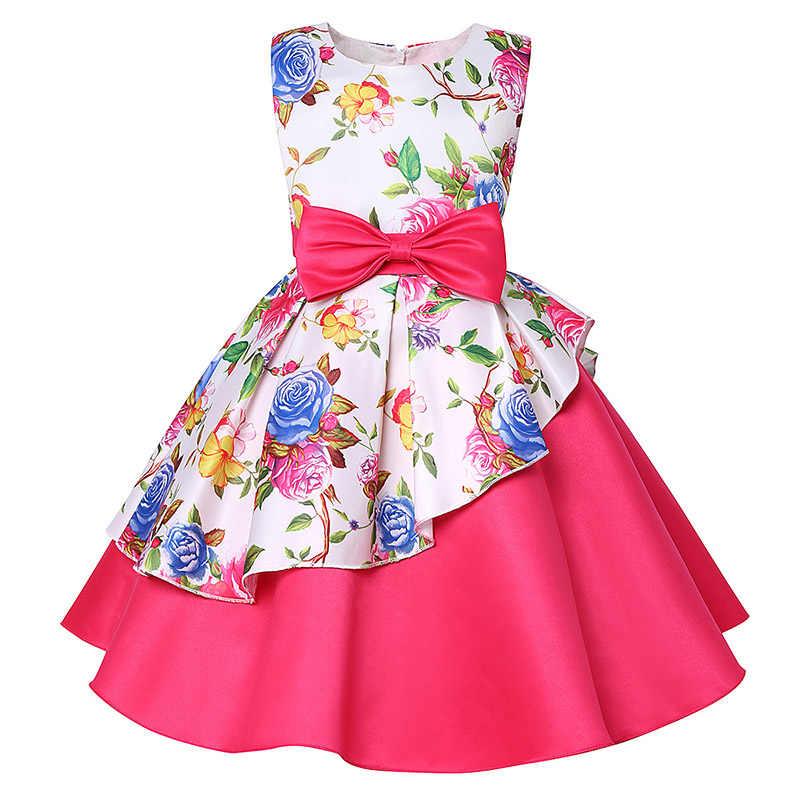 268af9b5b Платье для девочек, праздничное платье принцессы с принтом розы, детская  одежда, платье для