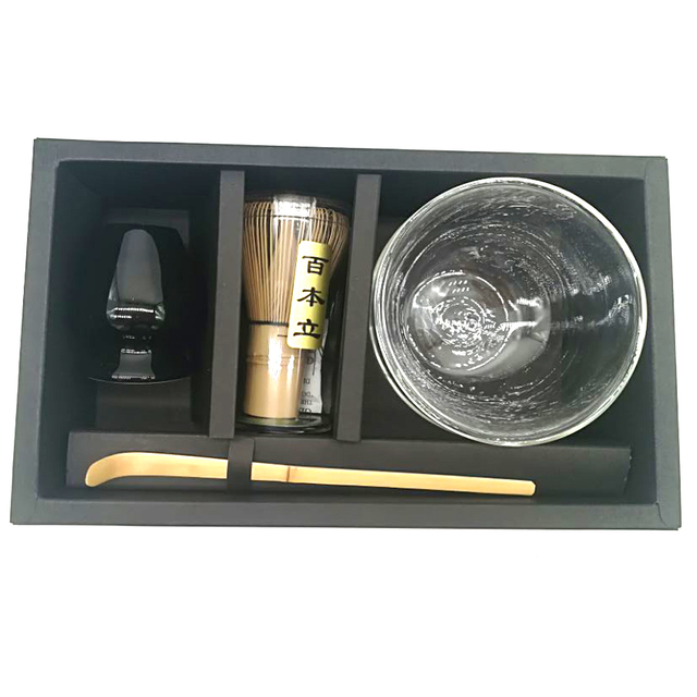 Super Japanese Matcha Tea Kit – Double Walled Glass Matcha Bowl 100 prongs Chasen Whisk Stand Hooked Bamboo Scoop in Gift Box