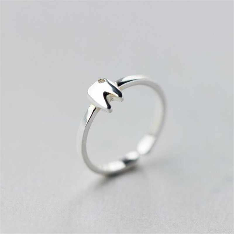 New Exquisite Fashion Personality 925 Sterling Silver Jewelry Simple Crystal Small Tooth Opening Rings  SR230