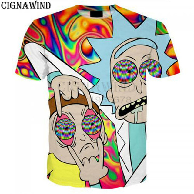 1c069a3df Harajuku style psychedelic Hypnosis Cartoon Ricky and Morty 3D Print Short  sleeve hip hop style tshirt streetwear summer tops