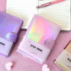 Милый лазерный блокнот, блокнот, розовый, Kawaii, планировщик, скрапбук, подарок, мягкий чехол, креативные школьные принадлежности, дневник, дне...