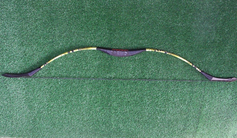 ФОТО 45LB  Handmade Yellow Recurve Bow For Archery Shooting Yellow Mandarin Jacket Long Bow