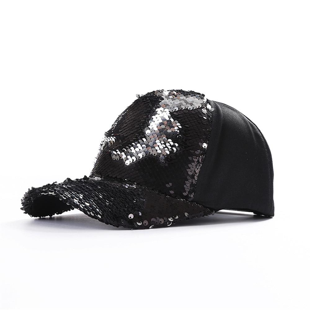 Kopfbedeckungen Für Damen Herren Damen Doppel Farbe Pailletten Baseball Kappe Einstellbar Strapback Hüte Z318 100% Original