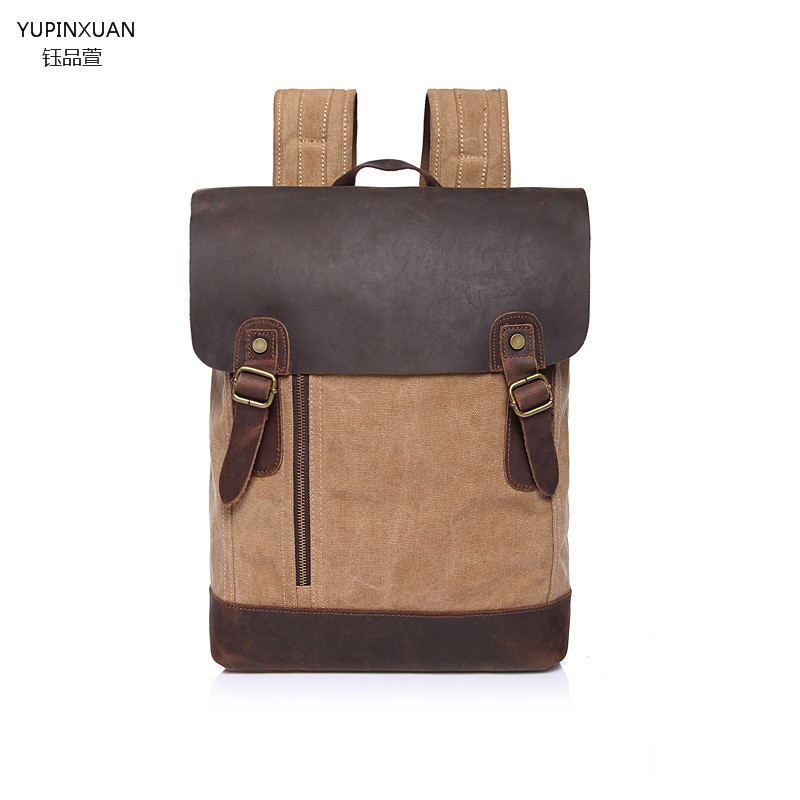 ФОТО YUPINXUAN High Quality Vintage Canvas Backpacks Unisex Crazy horse Leather Cover Backpack for Students Mochilas Estudiantes