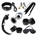 8 Pcs SM Restraints with Blindfold Wrist Gag Stainless Steel Anal Plug Bed Gay Bondage Kit for Bedroom Couple Lover Sex Toys