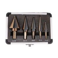 5pcs Step Drill Bit Set Hss Cobalt Multiple Hole 50 Sizes SAE Step Drills 1 4
