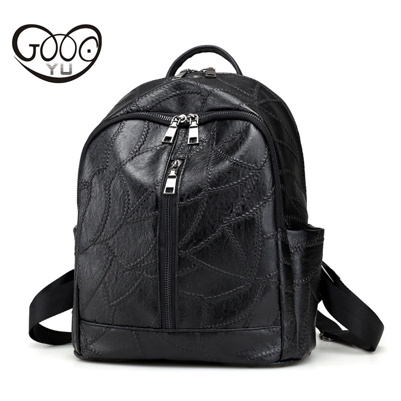 Simple car suture stitching decorative shoulder bag solid color trendy leather backpack women luxury brand