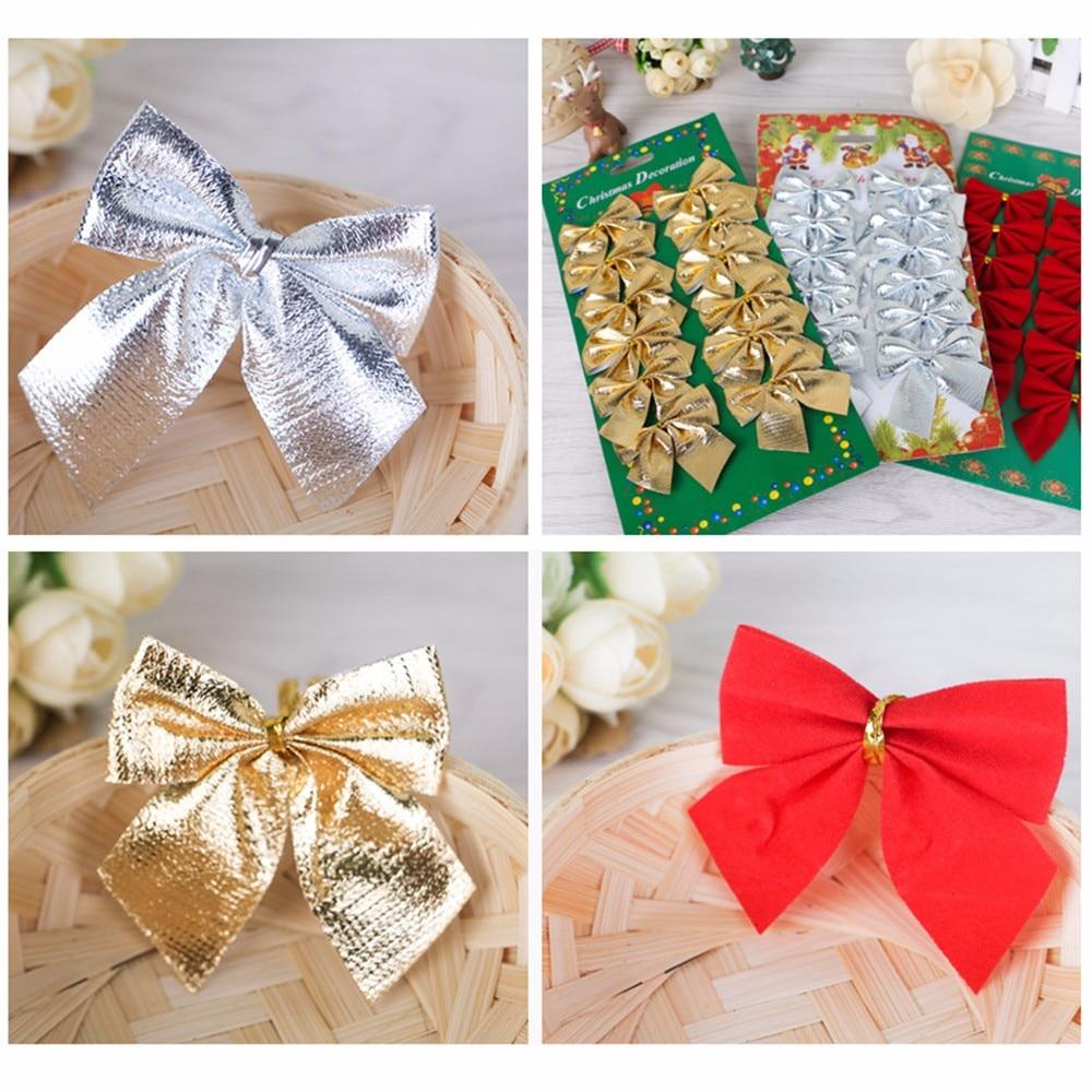 12pcs Gold Silver Red Pretty Bow Tie Christmas Tree Decoration Xmas Ribbon Bows Festival Pendant Home Bowknots Baubles#15