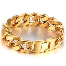 New Men Bracelet Gold Stainless Steel Bracelet Bangle Male Accessory Hip Hop Party Rock Jewelry Mens
