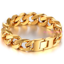 New Men Bracelet Gold Stainless Steel Bracelet & Bangle Male Accessory Hip Hop Party Rock Jewelry Mens Boys Chain Wholesale
