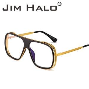 Jim Halo Flat Top Mirrored Designer Sunglasses Square Clear Lenses Sun  Glasses Metal Shades Retro Vintage Steampunk Men Women 857afb9a80