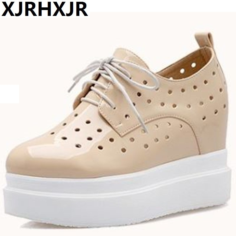 XJRHXJR Women Platform Shoes Oxfords Patent Leather Flat Lace Up Shoes Creepers Vintage Hollow Light Soles White Casual Shoes women creepers shoes 2015 summer breathable white gauze hollow platform shoes women fashion sandals x525 50