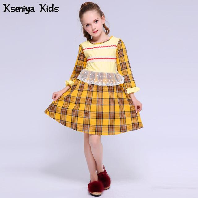 Kseniya Kids Spring Summer Yellow Casual Baby Girl Princess Dress Long Sleeve Cute Infant Apparel Costume Girls Children Cloth