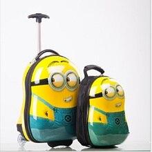 """2 Pcs/ensemble chaude Minions enfant sac D'école Tourisme bagages valise de bande dessinée 17 """"enfants voyage chariot cas D'embarquement boîte enfants cadeau"""
