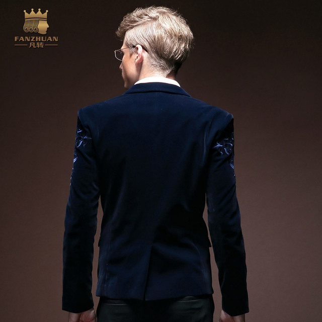 Free Shipping men's male New autumn winter fashion casual jacket personalized blazer flower embroidery Palace 14034 fanzhuan