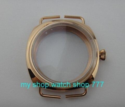 Parnis 45mm Pvd or Rose boîtier de montre en acier inoxydable Fit 6497-6498 mécanique main vent mouvement trempé verre minéral 03a