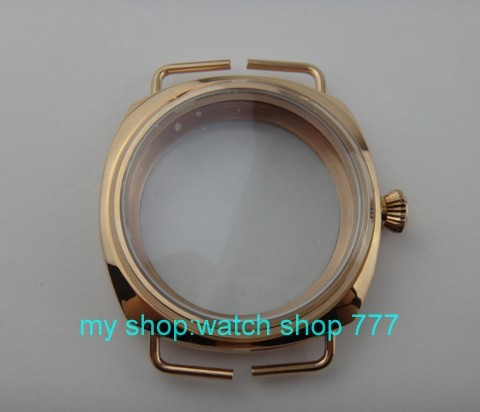 parnis 45mm Pvd Rose gold Stainless watch case Fit 6497-6498 Mechanical Hand Wind Movement hardened mineral glass  03a 46mm stainless steel rose golden parnis watch case fit 6498 6497 movement c21