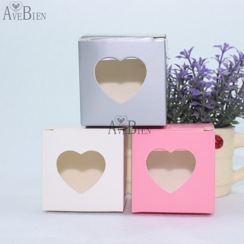 50pcs Heart Design Gift Box with Love Sweet Gift Chocolate Paper Candy Bag Birthday Deco ...