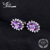 JewelryPalace Princess Diana William Kate Middleton S 1 1ct Natural Amethyst Halo Stud Earrings 925 Sterling