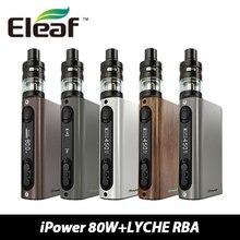 Ipower eleaf istick 80 w caja mod 5000 mah ipower tc batería mod con 4 ml eleaf atomizador y 0.25ohm lyche/rba coil head kit e-cigs