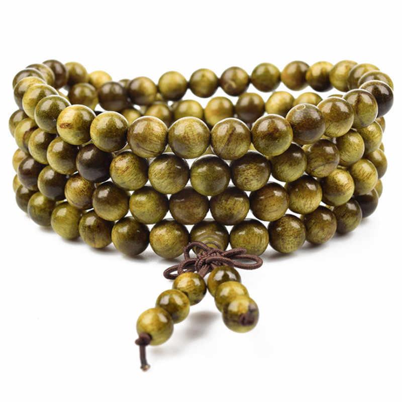 Nuevas pulseras de Rosario de sándalo con cuentas de 108, joyería para mujer, pulsera de cuentas de madera Natural de alta calidad para hombre