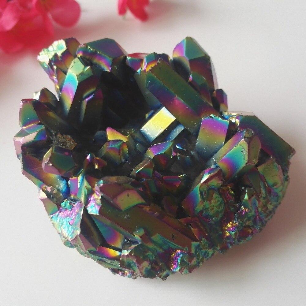 286g spécial Reiki galvanoplastie coloré minéraux cristaux Cluster Quartz Point baguette guérison feng shui aura décor à la maison vug