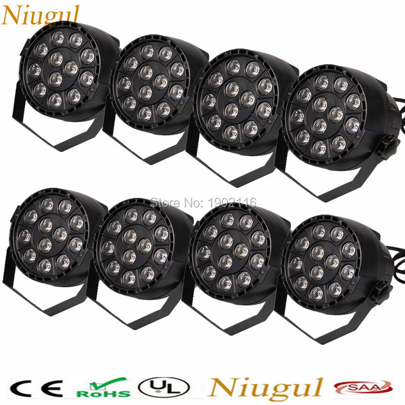 все цены на 8pcs/lot Flat led par 12x3W rgbw disco party lights DMX512 stage light Dj effect controller Dj Equipments projector RGBW PAR LED онлайн