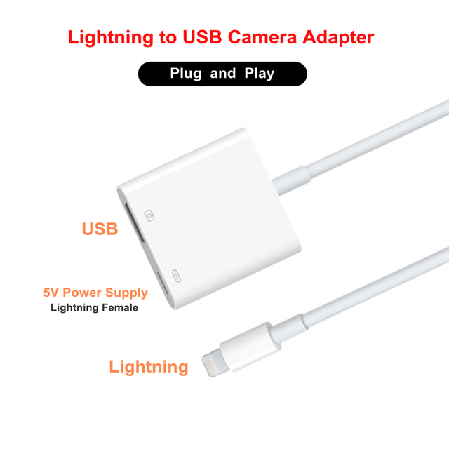 buy popular 37992 d802c US $11.27 20% OFF|8Pin Lighting for Lightning to USB 3 Camera Adapter Cable  OTG Data Sync External Keyboard Connector Cable for iPhone X 8 6S iPad-in  ...