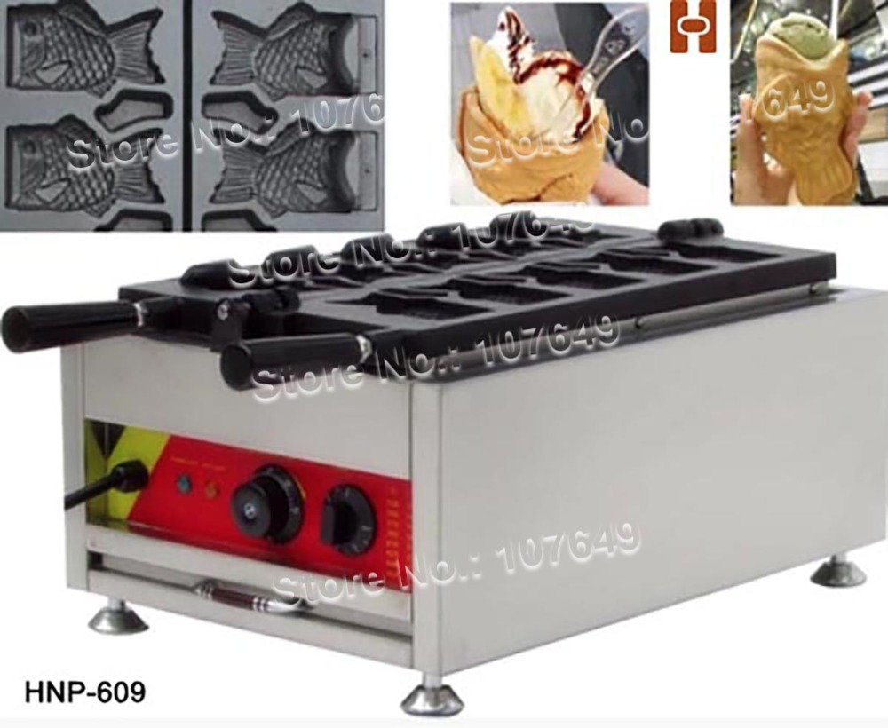 5pcs Commercial Use Non-stick 110v 220v Electric Ice Cream Fish Taiyaki Maker Machine Baker with CE Certificate