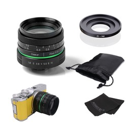 New green circle 25mm CCTV camera lens  For Nikon1:V1,J1,V2,J2 with c- N1 adapter ring +bag + gift