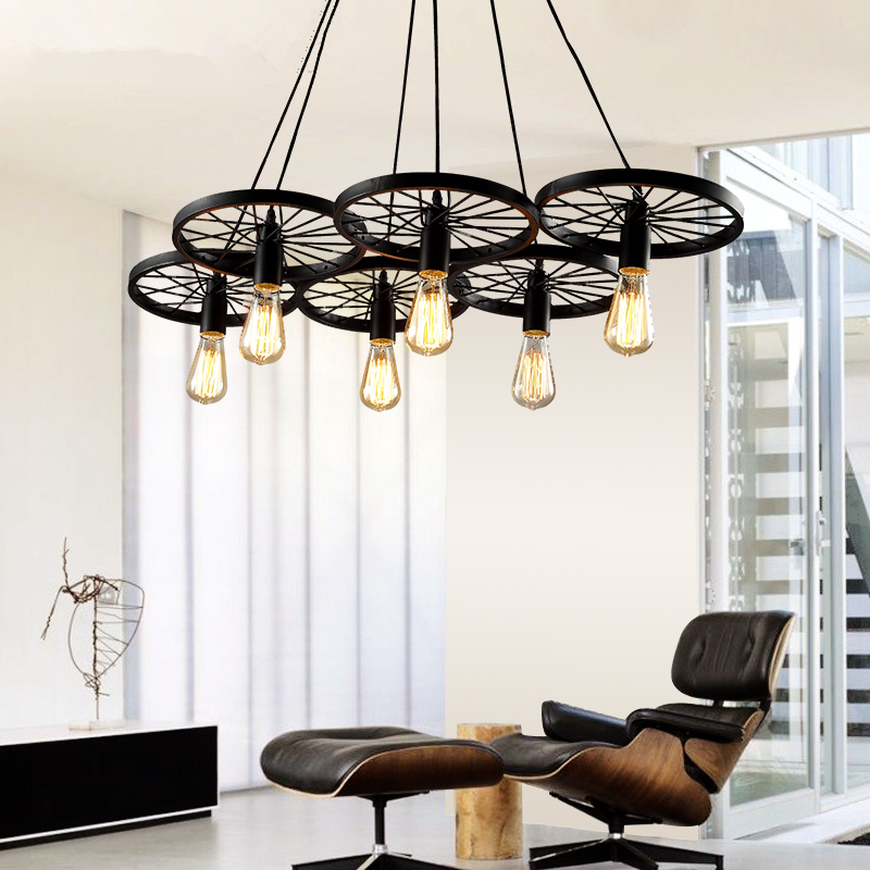 buy metal wheel pendant light vintage industrial e27 lustre led lamp loft style. Black Bedroom Furniture Sets. Home Design Ideas