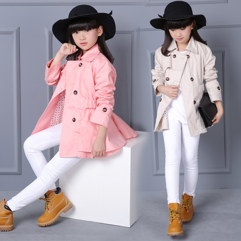 Girls Trench Coats Double Breasted Jackets For Girls Clothing Tops Kids Windbreaker Spring Autumn Outerwear for 6- 12 years old girls trench coats double breasted long jackets for girls clothing children outerwear spring autumn kids windbreakers 5 7 12 15