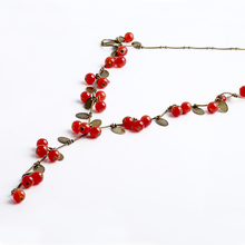 Vintage Women Beads Necklaces & Pendants Red Cherries Sweater Chain Wholesale Cherry Necklace for Women Jewelry N116
