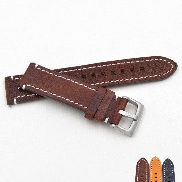 Ремешок из натуральной кожи для наручных часов, черный темно коричневый сменный Браслет для фирменных часов, 18 19 20 21 22 23 мм