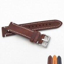 اليدوية جلد طبيعي watchbands 18 19 20 21 22 23 ملليمتر الأسود بني داكن المعصم حزام حزام حزام ل ووصفت ووتش استبدال