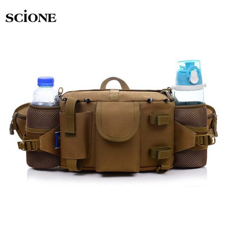 Multifunctional Tactical Camouflage Waist Packs Waterproof Nylon Sports Belt Bags Phone Coin Purse Water Cups Mini Pouch XA210YL