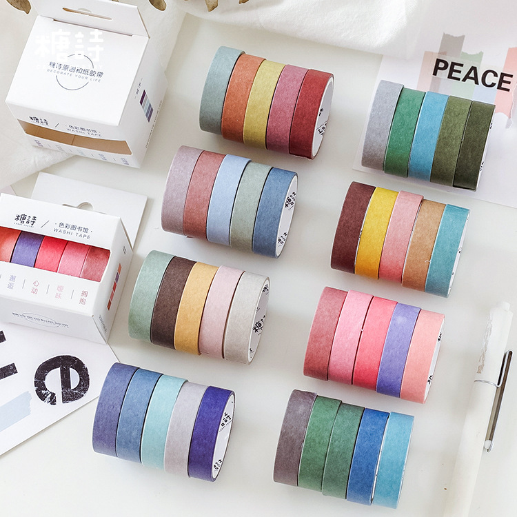 5 Pcs/pack Color Library Washi Tape DIY Decoration Scrapbooking Solid Color Masking Tape Adhesive Tape Label Sticker Stationery