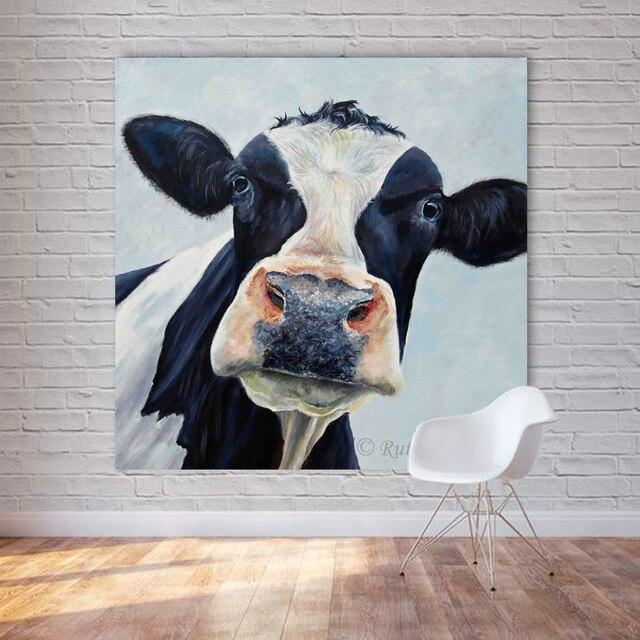 Leinwand malerei kuh wand bilder f r for Dekorative bilder wohnzimmer