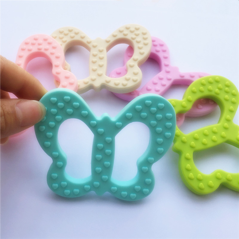Chenkai 10PCS BPA Free Safe and Natual Silicone Butterfly Teether Chewable Pendant Nursing Baby Dummy Jewelry Toy Accessories ...
