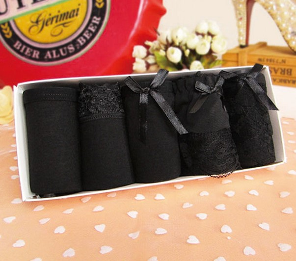 59c97e13dd 5pcs gift box set 100% cotton solid color young girl lace black 100% cotton  women s underwear mix match sexy panties female gift
