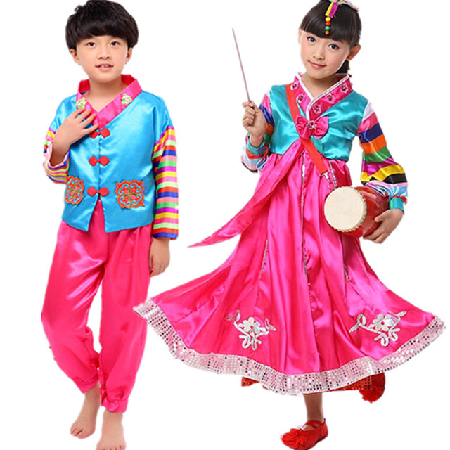 Bambini Coreano Tradizionale Hanbok Coreano Costumi Etnici Danza  Palcoscenico Tavolo Coreano Hanbok Donne Hanbok Vestito Dalla 391812e3e12
