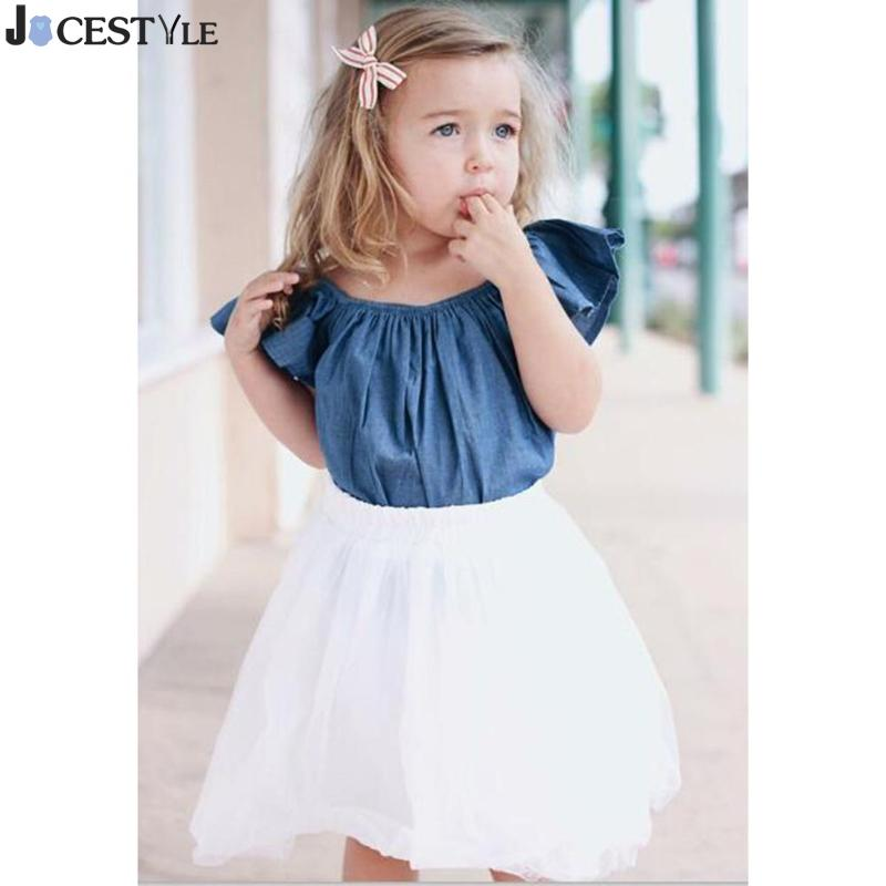 Casual 2pcs Spring Summer Baby Girls Clothing Set Short Ruffle Sleeve Denim Tops Knee-Length Cute Tulle Skirt Clothes 1~6Y
