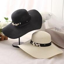 oZyc New Spring Summer Hats For Women Flower Beads Wide Brimmed Jazz Panama Hat Chapeu Feminino Sun Visor Beach Hat Cappello