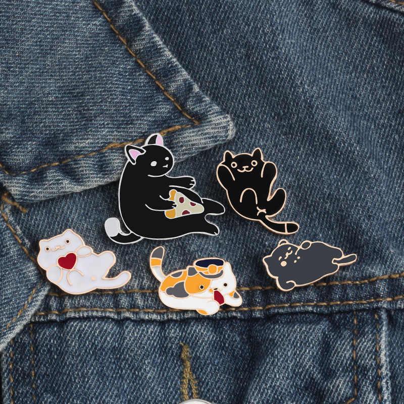 Spille Nero Del Fumetto Del Gatto Spille Distintivo In Metallo Accessori Icone su Capi di Abbigliamento T-Shirt Vestiti del Sacchetto di Personalità Dello Zaino FAI DA TE